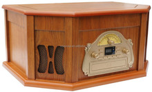 Portable Retro Wooden Turntable with AM/FM Radio and Cassette Player