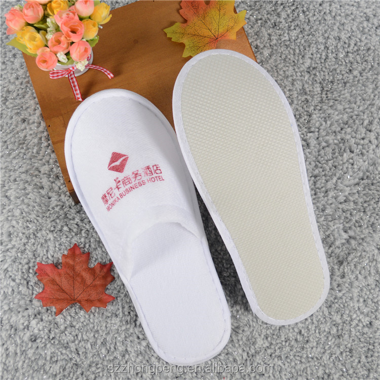 cheap 100% cotton velvet fabric hotel slipper