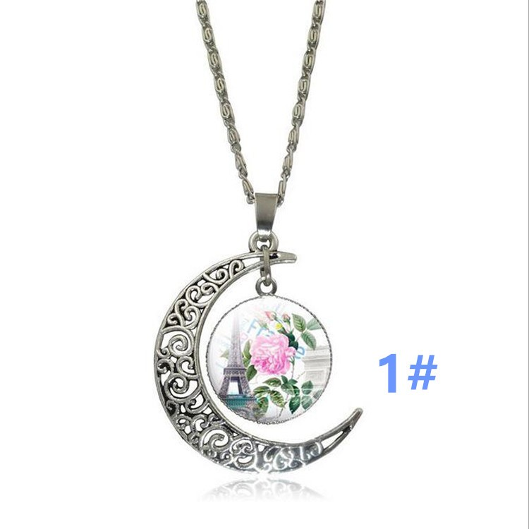 Romantic Eiffel Tower Galaxy Moon Necklace