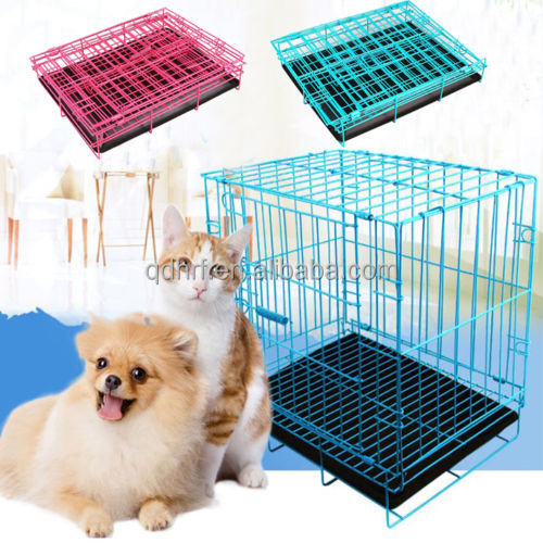2 Door Pet Dog Metal Collapsible Wire Cage Crate Kennel with Tray Black