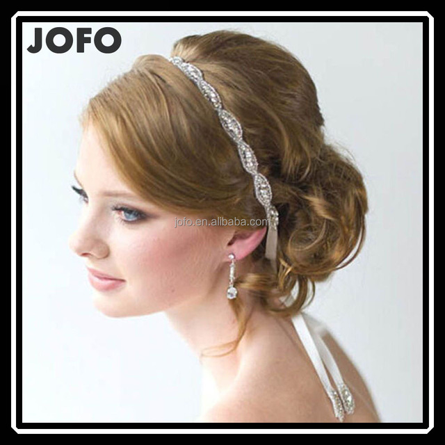 2015 Korea Style Snake Chain Clear Crystal Flower Hairband Bridal Hair Accessories