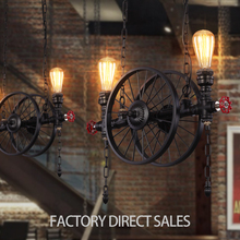 2017 New product Loft retro industrial art antique wheel iron pendant lamp for Bar Cafe Restaurant