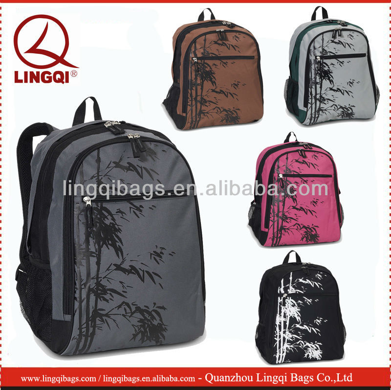 Artistic Cute bamboo print polyester school bags and backpacks for teens
