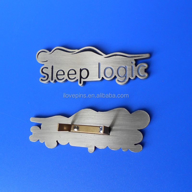 custom shape zinc alloy bag plates with u buckle, logo engraved antique sliver metal plates