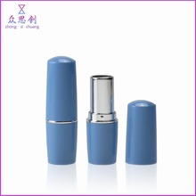 Plastic simple short size cute no logo empty lipstick container round shiny silver lip balm case diy for cosmetics usage ZK68039