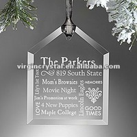 2012 new christmas tree decor glass laser engraved