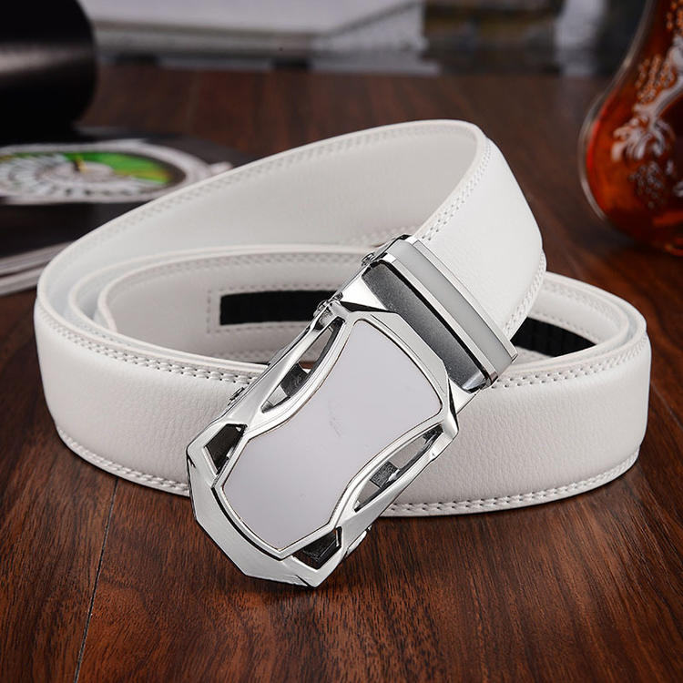 btb0132 Bus White Auto Lock Buckle White Leather Belt for Men
