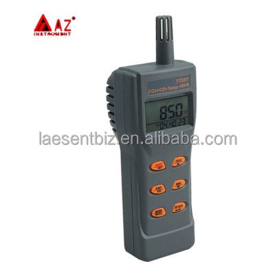 AZ77597 Combo CO2 & CO & Temperature Portable Meter Checking Indoor Air Quality Gas Detector Big LCD <strong>w</strong> / Backlight Display