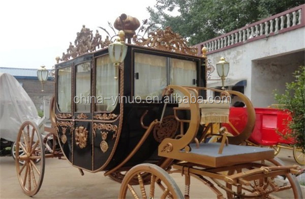 Royal carriage horse drawn wagon for photography, real estate activities
