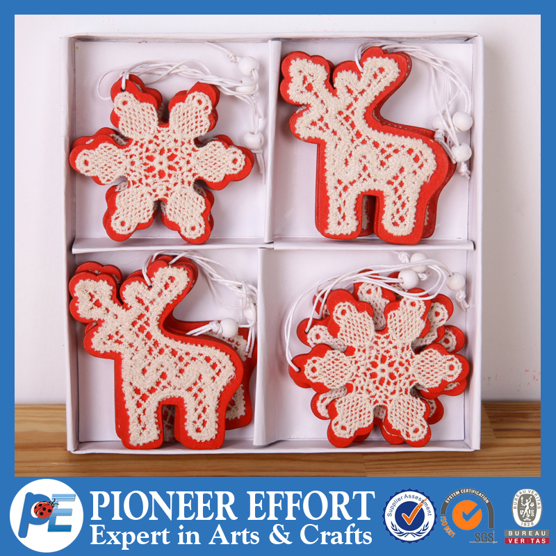 Wooden Christmas Hanging Ornaments set of 12 with deer snowflake