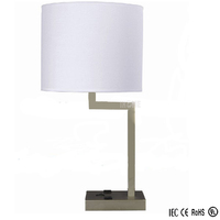 hot sell simple power outlet hotel table lamps with classical shade for wholesale