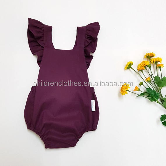 Prom Child Only Clothes Flutter Style Summer Baby Bodysuits Claret-red Woven Girls Romper