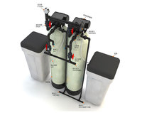 Twin-Tank Water Softener Reducing Hardness