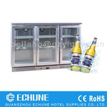 stainless steel three door glass showcase back bar cooler Electric beer cooler