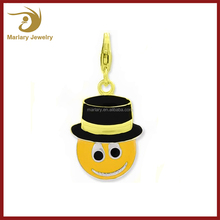 Enameled Smiley Face Top Hat Charm with Lobster Clasp in Stainless Steel