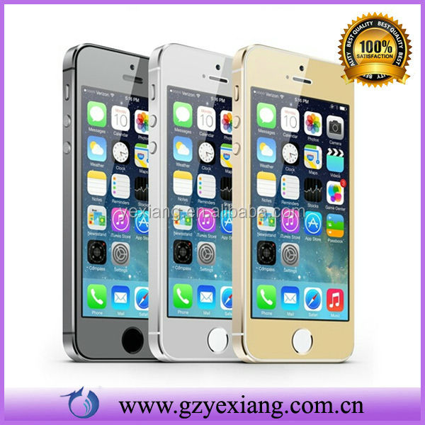 New Colorful Tempered Glass Screen Protector+Bling Back sticker for iPhone 5/5S