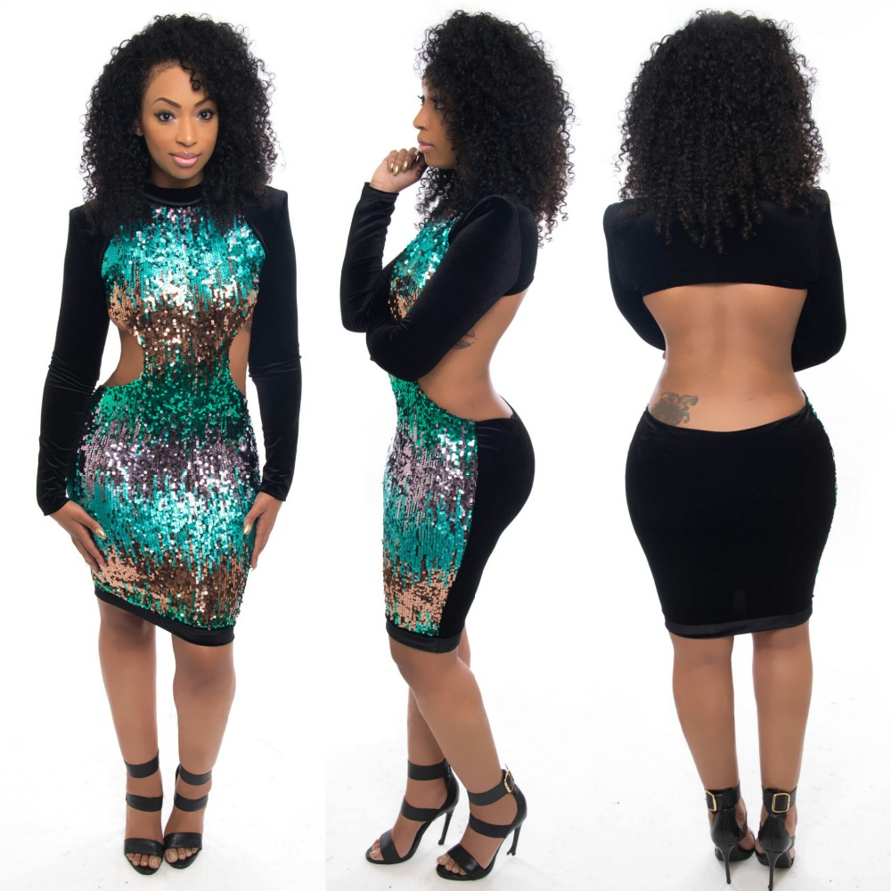 S63536A New Black Sequined Long Sleeves Club Dress bodycon women dress
