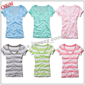 wholesale custom print colorful women striped short sleeve t-shirt