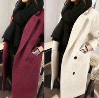 2016 hot sale women autumn winter clothes ladies slim wool long coat