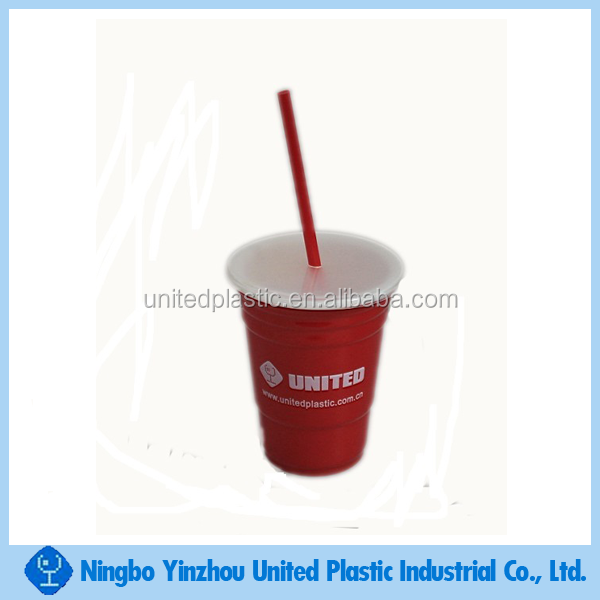 Hot selling 16oz double wall plastic beer drinking cups with lids and straw