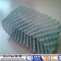 High temperature 99% filtering rating cicular knitted 304ss wire mesh / stainless steel gas liquid filter mesh