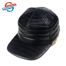 Unipin Factory Wholesale High Quality Black Wavy Seam Lines Leather Plain Snapback Hats