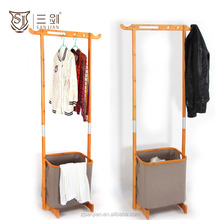 Modern bedroom furniture large clothes rack hanging with laundry basket