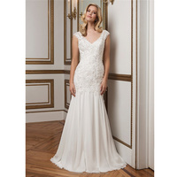 Wholesale Elegant SImple Alibaba 2015 White Chiffon Mermaid Wedding Dresses With Lace Beaded Pearls Backless Bridal Gown LW98