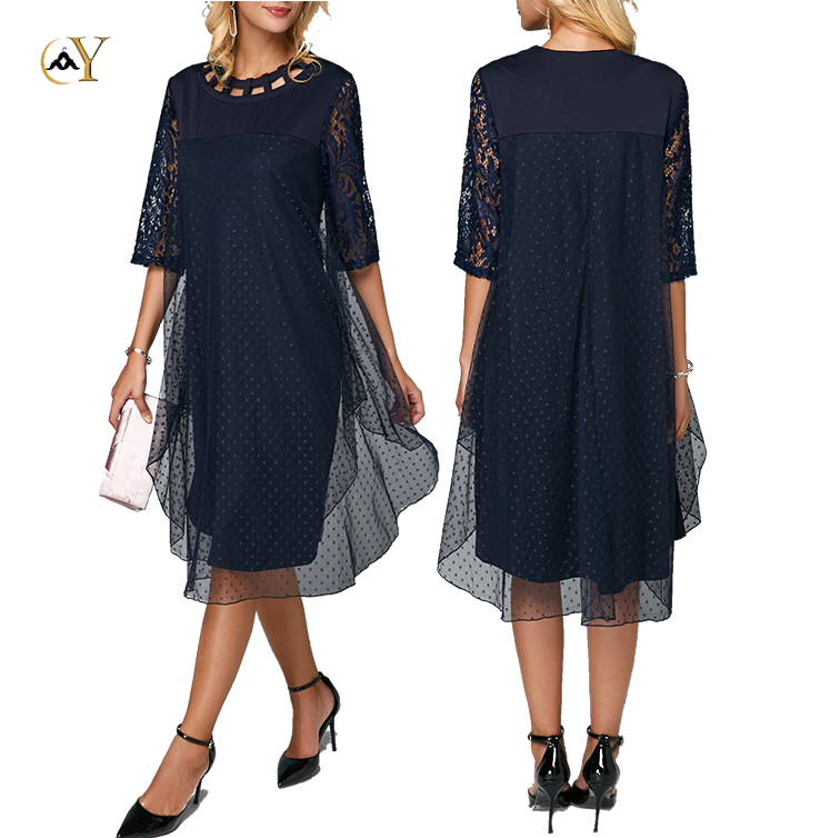 Casual Three Quarter Sleeve Round Neck Mesh Dresses Women Overlay Navy Blue Mid Calf Dress
