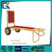 Gold Titanium Plated Hotel hand pushing Luggage Carts/trolley