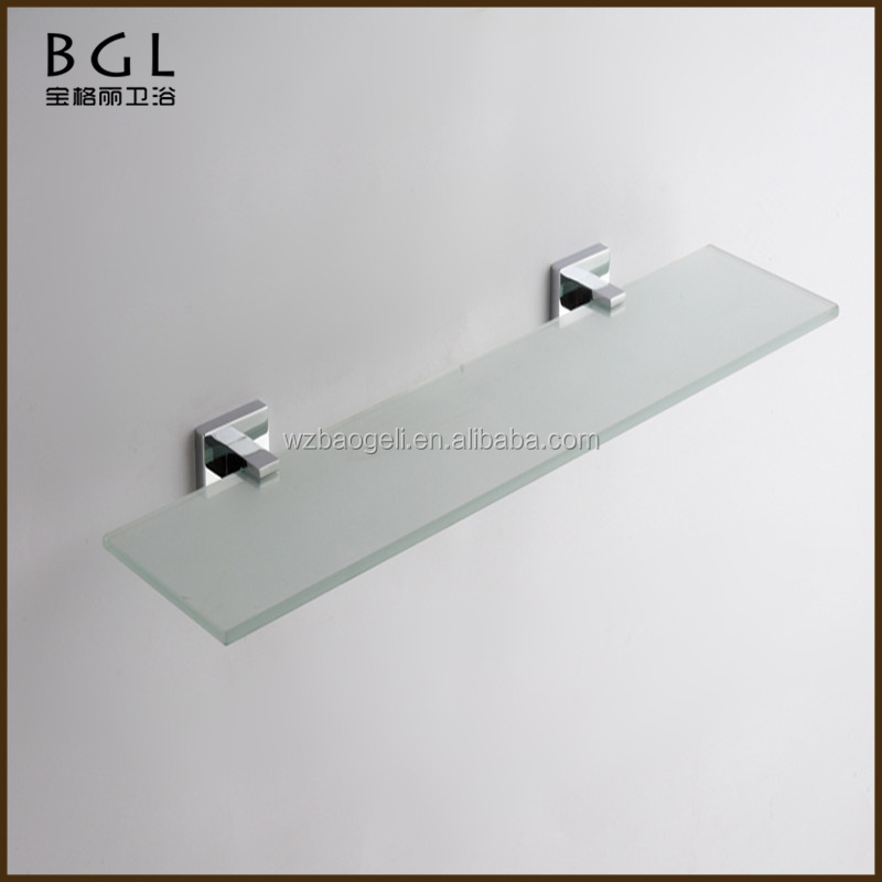 Multi-functional China manufacture Zinc alloy Chrome plated Bathroom accessories Wall mounted Glass shelf