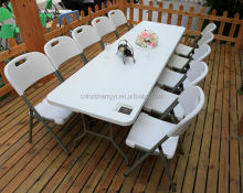 8ft Rectangular steel folding table and chairs