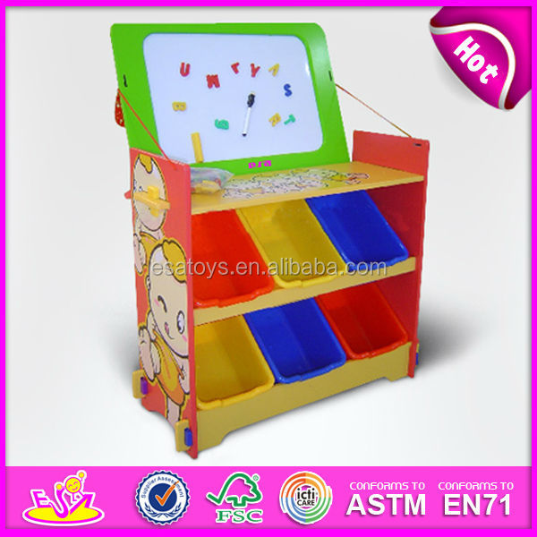 2015 New kids wooden storage organizer toy,popular children wooden storage organizer, Storage rack with drawing board WJ278568