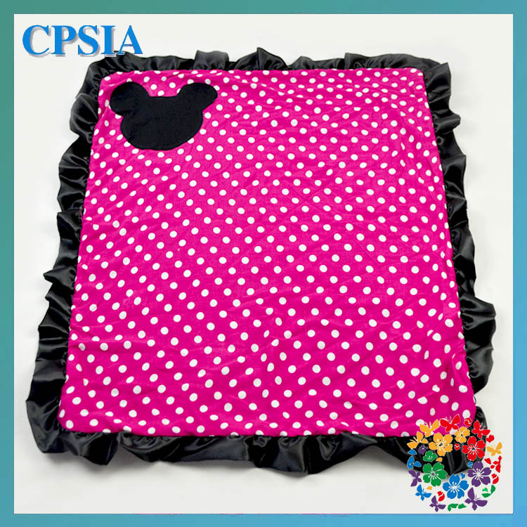 wholesale newborn baby blankets hot pink polka dot with black ruffles mini design cute baby blanket
