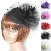 HOT party women lady fascinator feather hair accessory clip pillbox hat veil cap