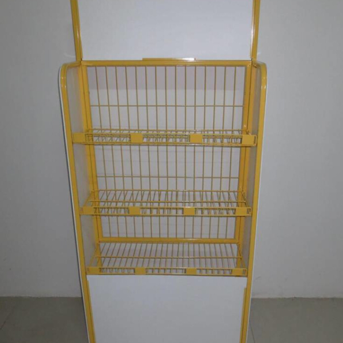 3 layers yellow shopping mall fruit vegetable display rack