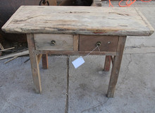 Chinese antique birch wood blue country furniture natural console table