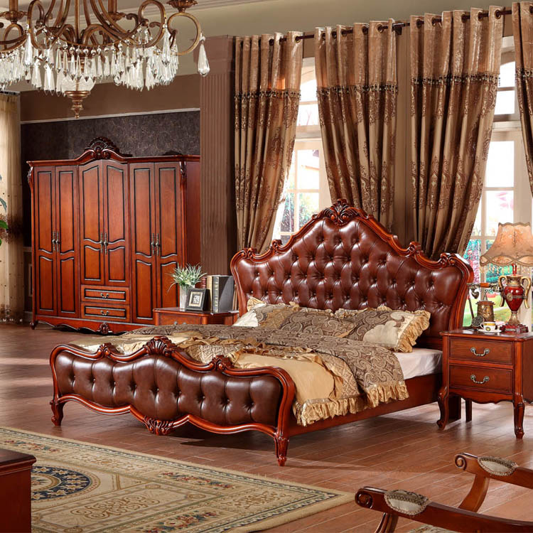 2016 new model American style genuine leather bed used bedroom furniture for sale