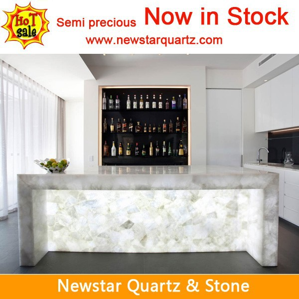 Semi Precioustone Gemstone Quartz White Counter Top