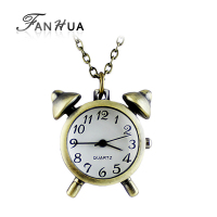 Classic Alarm clock shape watch necklace Chrismas