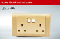 Electric Coloured Double 13A High-Quality British Standard China Sockets and Switches