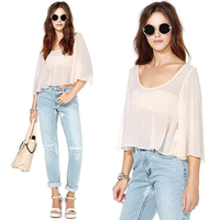 Stylish Lady Women's New Fashion Flare Sleeve Backless Loose Tops Blouse sexy women see through blouses SV016037