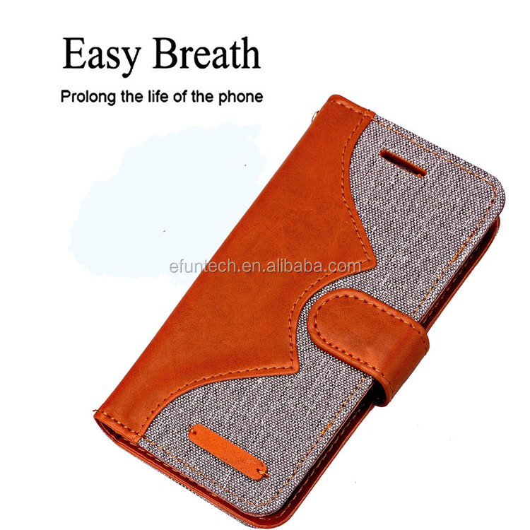 Denim and PU leather joint mobile phone accessories for iphone 7 flip wallet phone case for iphone 7 plus accessory