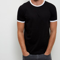 big quantity black contrast trim crew neck t shirts 1 euro