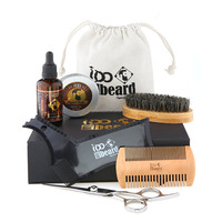 2018 Beard Grooming and Trimming Kit for Men Care. - Unscented Beard Balm Wax, Unscented Beard Oil Leave-in Condition, Barber Sc