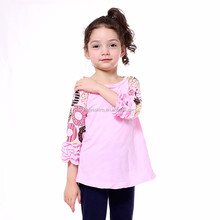 New model top 100 Wholesale little girl top printed 3/4 sleeve shirt Organic Cotton Toddler Blouse