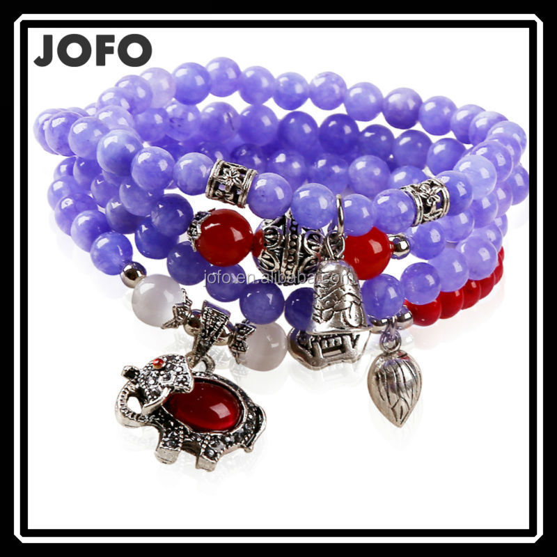 2015 Spring Charm Bracelet Light Purple Handmade Beaded Elephant India Native Fashion Bead Bracelets