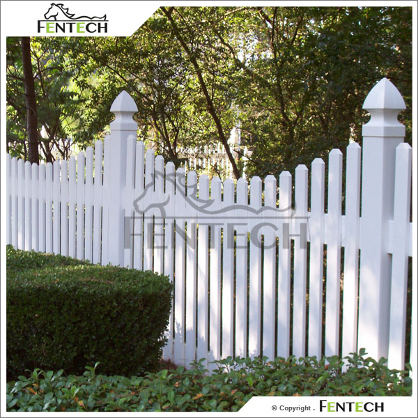 Fentech White Decorative Picket Fence PVC Fence temporary vinyl fencing