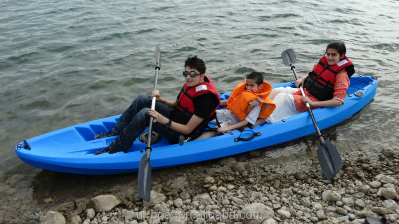 2.5 Persons Family Double Seat Fishing Kayak with 4 Rod Holders Canoe Free Paddle