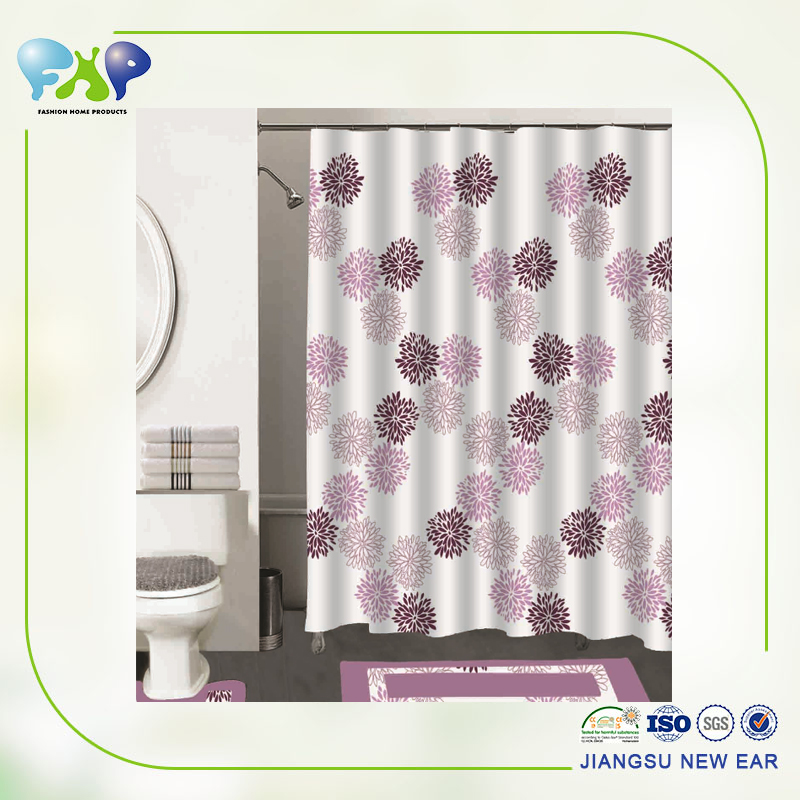 Hot-sale high quality pvc home goods shower curtains